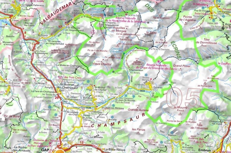 Carte du champsaur valgaudemar format 1119x745